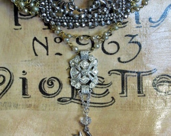 Vintage Multi Strand Pearl Necklace with Repurposed French Steel Cut Buckle