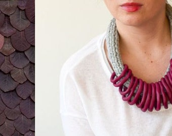 Bordeaux necklace, bib statement necklace, plus size fashion, burgundy necklace, gifts for her, big necklace, bold necklace, knit necklace