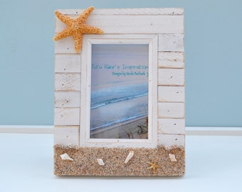 Beach Decor, Beach Wedding, Nautical Decor, Coastal Decor, Beach Wedding Gift, Beach Picture Frame, Seashell Frames, Nautical Picture Frame