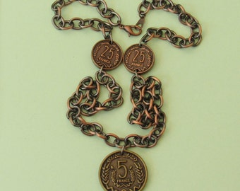Franc Necklace *French,France,unique finds,gift ideas,for her,for teens,fun jewelry,coin jewelry,currency,coins,costume jewelry,copper