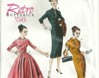 Butterick 5813 Retro '56 Dress Pattern Reissue Size 14 16 18 20 22 Uncut