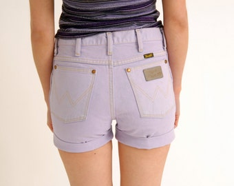 Vintage Reworked 80s 90s WRANGLER Hot Pants Denim Shorts Lilac purple Studded S M SMALL