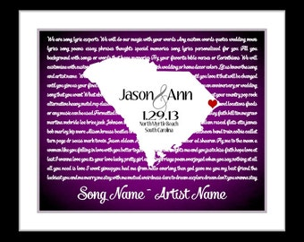 Wedding Song Lyric Art Personalized Wedding Gift: Any State Country Custom Map Print Office Art Engagement Present Gift for Newlyweds 8x10