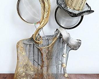 Elegant couple / Love in Gold and Silver / Modern art / Wedding / Anniversary/ Valentine gift OOAK