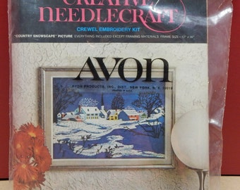 """COUNTRY SNOWSCAPE Picture Crewel Embroidery Stitchery Kit by Avon Creative Needlecraft 1973 Vintage 12"""" x16""""  Mary's Neat Knits and Kits"""