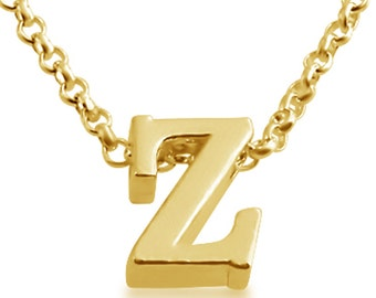Initial Letter Z Personalized Letters Serif Font Charm Pendant Necklace #14K Gold Plated over 925 Sterling Silver #Azaggi N0597G_Z
