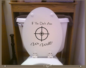 toilet decal please aim funny toilet seat scope graphic hunting theme decal for toilet
