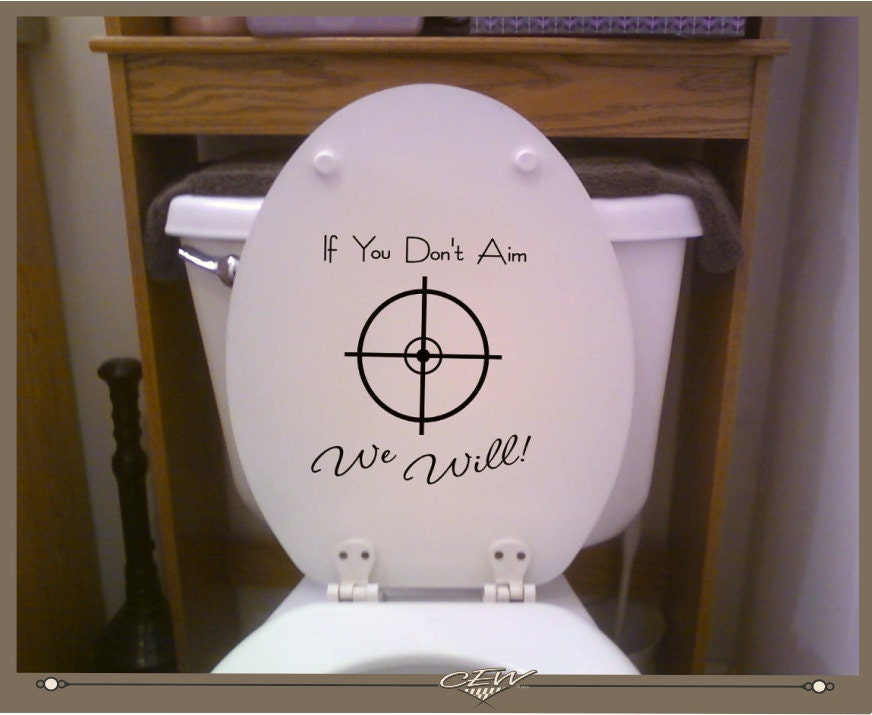 Toilet Decal Please Aim Funny Toilet Seat Scope Graphic