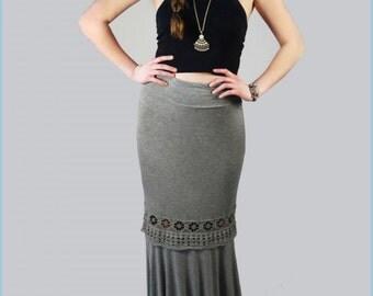 Spring sale, Ladies, tall, womens, Festival, trendy, crocheted lace trim grey, gray maxi skirt, long, boho, Small, Medium, Large, knit