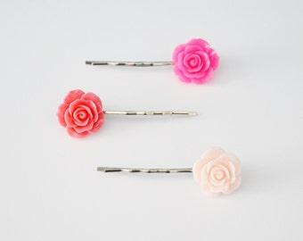 Set of 3 Pink Rose Flower Resin Bobby Pin - Hair Pins - Hair Accessories - Girl Hair Pin - Bobby Pins Set - Flower Girl Bobby Pin - Gift Set