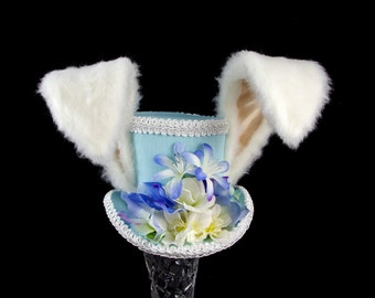 The White Rabbit - Rabbit Eared Blue and White Flower Garden Mini Top Hat Fascinator, Alice in Wonderland,Mad Hatter Tea Party, Easter Hat
