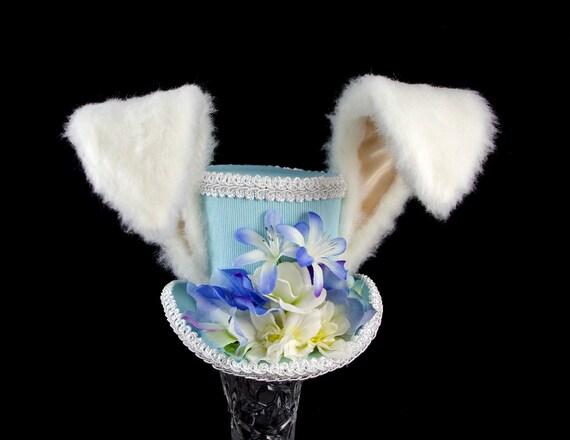 The White Rabbit - Rabbit Eared Blue and White Flower Garden Medium Mini Top Hat Fascinator, Alice in Wonderland,Mad Hatter Tea Partyt