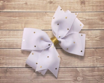 White and Gold Hair Bow, White Hair Bow, White Bow, Fancy Bow, Baptism Bow Headband, Boutique Hair Bow, White Flower Girl Headband