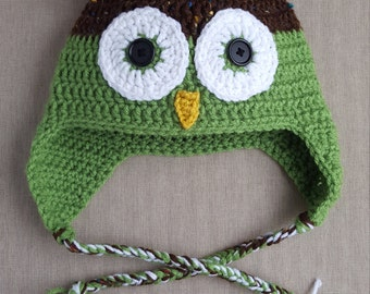 Owl Hat - Crochet Owl Hat - Boy Hat - Girl Hat - Green Owl Hat - Baby Shower Gift