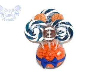 Small Customizable Football Lollipop Centerpiece, Sports Party Centerpiece, Football Party Decor, Team Party Candy, Football Candy Table