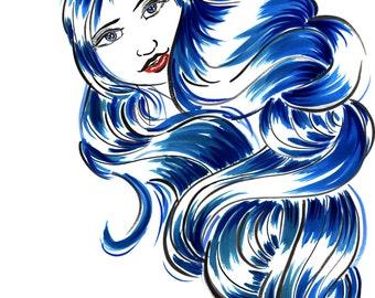 Hurricane Girl , Blue Haired Girl Print, Blue Hair Art Print,Blue Girl Art, Comic Book Inspired Art, Comic Book Style Art