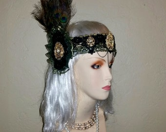 Great Gatsby Flapper Peacock Gold and Black Headpiece  1920s Headband Art Deco Nouveau Prohibition Headdress Roaring 20's