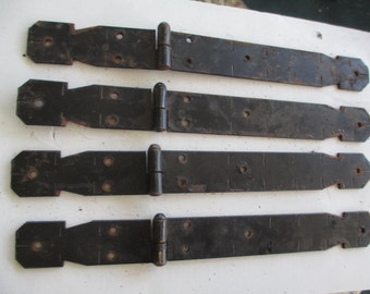 Vintage Black Strap Hinges/Set of Four/Wrought Iron