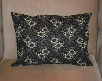 Travel Pillow Case / Accent Pillow Case Vintage Black and White FLORAL / FLOWERS