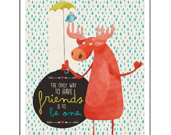 Nursery Decor Wall Art Print - Be a Friend Poster, Friendship Illustration Art, 11x14 Print, Kids Bedroom Wall Art, Fun Animal Designs