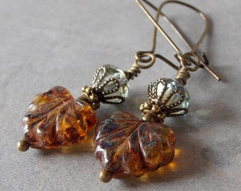 Leaf Earrings, Glass Bead Earrings, Rustic Autumn Jewelry, Maple Leaf Dangles, Nature Jewelry, Beaded Earrings, Gifts Under 20