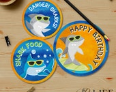 Chomp Chomp Surfing Shark Pool Birthday Party Thank You Tags, Print at Home, Printable No. I280