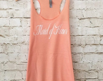 Eco Maid of Honor Tank. Bride Shirt. Bride Tank Top. Bridal Party Tank. Bridesmaid Shirts. Racerback Tank.  Brides Entourage Tanks.