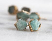 amazonite earrings / raw stone earrings / jade earrings / turquoise studs / tiny studs / druzy earrings / druzy stud earrings