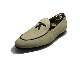 Smythe and Digby Men's Handmade Linen Leather Tassel Belgian Loafers