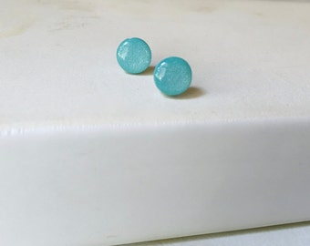 Ice Blue Earrings - Light Blue Earring Studs - Blue Shimmer Studs