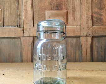 Vintage Mason Jar, Foster Sealfast Glass Jar, Vintage Kitchen Storage, Kitchen Canister, Green Glass Mason Jar Decor