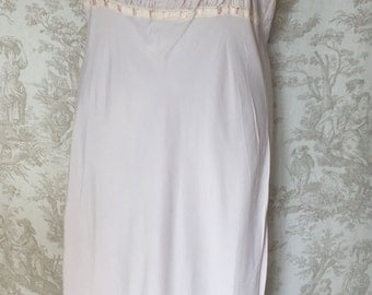 Antique Vintage Long Rayon Nightgown with Cotton Embroidery