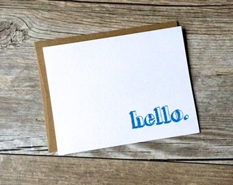 Teacher Gift / Coworker Gift / Hello Note Cards / Modern Minimal Greeting Cards / Blank Note Cards