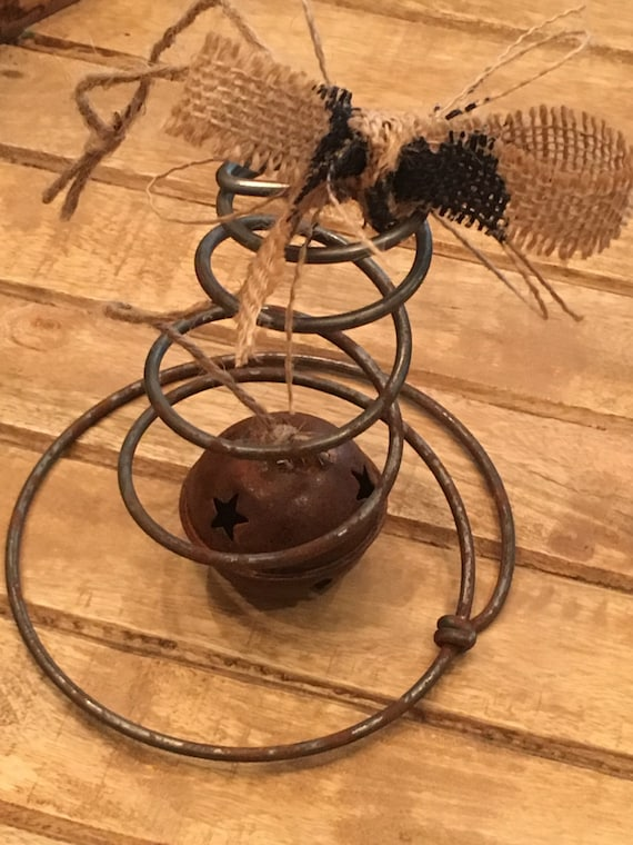 Primitive Christmas Vintage Rusty Bell Wire Bed Spring Ornament Ornie *Free Shipping*