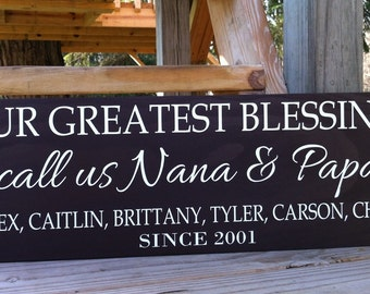 Personalized/Gifts for Grandparent/Meme Gifts/Nana and Papa Gift/Pop Pop Mema Sign/Our Greatest Blessings Call us/grandma Grandpa Sign/Wood
