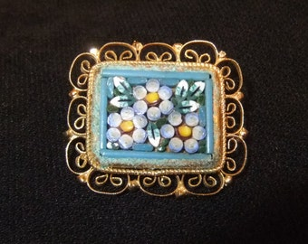 Aqua Floral Mosaic Brooch with Golden Filigree Border, Made in Italy