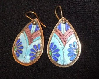 Early Laurel Burch Cloisonné Enamel on Silver Earrings, Light Blue, Navy, and Lavender
