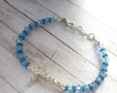Christian Jewelry, Christian Cross Bracelet For Her, Christian Bracelet For Mom, Blue Jewelry, Rhinestone Bracelet