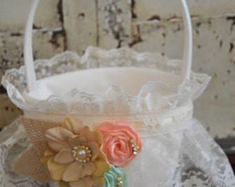 Peach and mint Flower Girl Basket