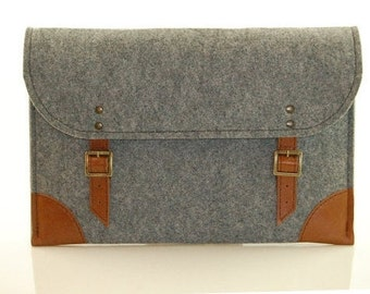 MacBook Pro 13 inch case, MacBook Air 13 inch sleeve, Laptop case, grey felt, laptop sleeve