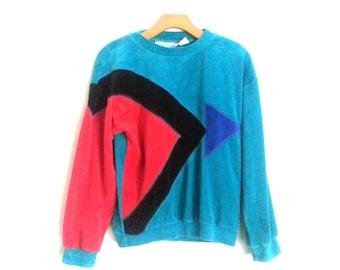 Vintage 80s Sweatshirt Velour Colorblock Asymmetrical Geometric Goola Gong Small