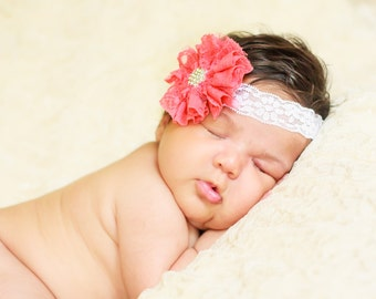 Coral Lace Headband, Lace Baby Headband, Coral Baby Headband, Newborn Photo Prop, Baby Shower Gift, Lace Flower Headband, Newborn Headband