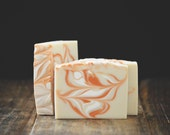 Orange Blossom Soap | Handmade, Cold Process Bar, Artisan, Vegan, Swirl, Citrus, Sweet, Scented, Homemade, Body Wash, Gift, White, Natural