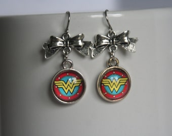 12mm Glass Cabochon Wonder Woman Dangle Earrings with Silver Bow Stainless Steel Ear Hooks or Clip Ons