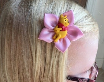 Winnie the Pooh Hair Clip/Hair Bow, Disney, Kanzashi, Tigger, Eeyore, Piglet, and Honey Pot also avilable
