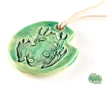 Frog necklace, ceramic lily pad pendant, frog on a lilypad, amphibian jewelry