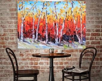 Birch Trees, Palette Knife Painting, Large Wall Art, 24x36, Original Painting, MADE TO ORDER, Award Winning Artist, San Francisco Bay Art