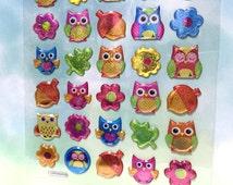 owl sticker 3D owl Glitter stickers kawaii owl colorful owl epoxy sticker baby owl cute bird lovely bird sticker craft sticker scrapbook