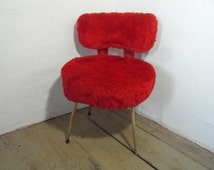 Red fluffy chair, boudoir chair, moumoute chair, French vintage, 60s home decor, red chair, mid century chair, boho decor, red home decor.