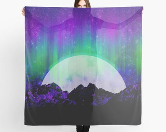 Northern Lights Scarf - Aurora Borealis Scarf - Full Moon - Arctic Sky - Sheer Fashion Scarf